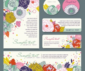 Set of Corporate Identity kit cover with flower vector 01