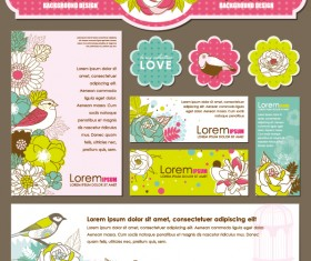 Set of Corporate Identity kit cover with flower vector 02