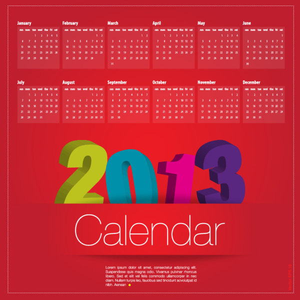 Special of 2013 calendar vector graphics 04