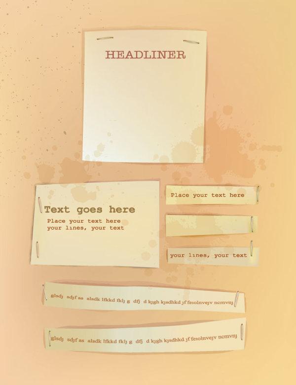 Old labels paper design vector material 02