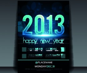 2013 Happy New Year Flyer cover vector set 01