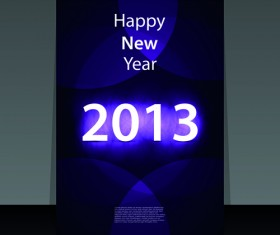 2013 Happy New Year Flyer cover vector set 02