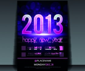 2013 Happy New Year Flyer cover vector set 03