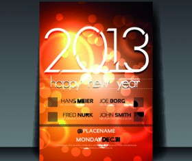 2013 Happy New Year Flyer cover vector set 04