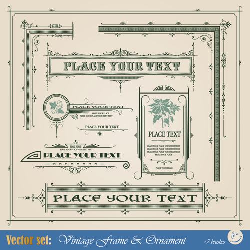 Vintage Ornaments and frames design vector material 02