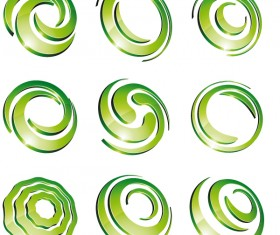 Green 3D logo design vector 01