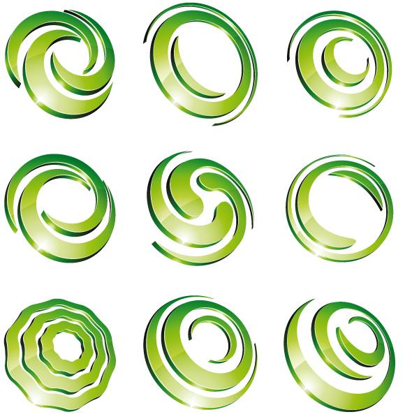 Green 3d logo design vector 01 vector logo free download for Logo design online free 3d