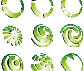 Green 3D logo design vector 02