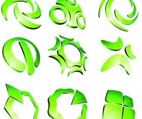 Green 3D logo design vector 03