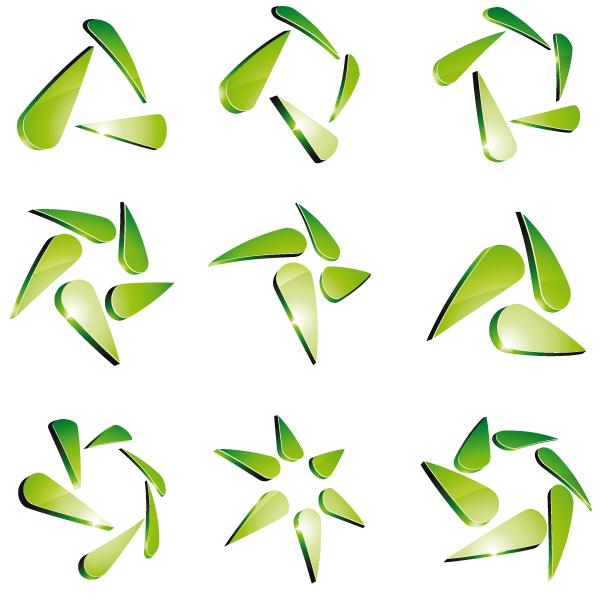 Green 3D logo design vector 04
