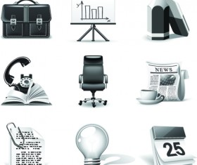 Set of Different B&W icons vector 01