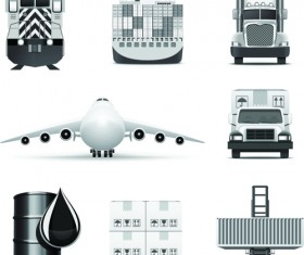 Set of Different B&W icons vector 03