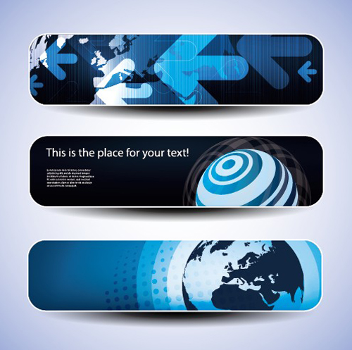 Blue concept banner vector graphic set 02