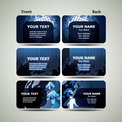 Blue Futuristic Business Card Design Vector 01