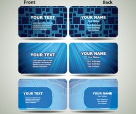 Blue Futuristic business card design vector 02