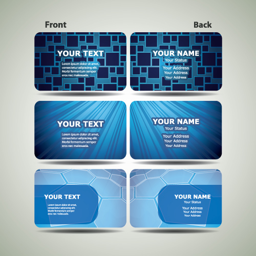 Blue Futuristic Business Card Design Vector 02 Free Download