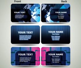 Blue Futuristic business card design vector 03