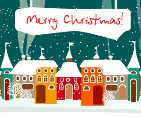 Cartoon Christmas house and snow vector 01