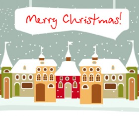 Cartoon Christmas house and snow vector 02