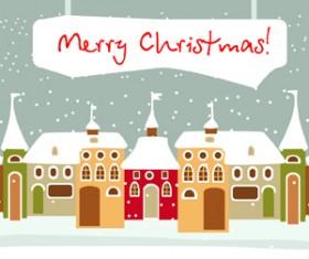 Cartoon Christmas house and snow vector 02