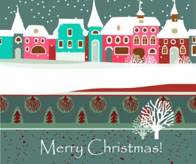 Cartoon Christmas house and snow vector 03