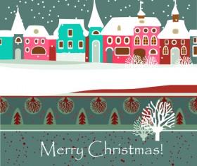 Cartoon Christmas house and snow vector 03