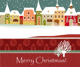 Cartoon Christmas house and snow vector 04