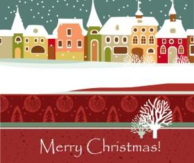 Cartoon Christmas house and snow vector 04