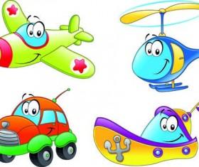 Different Cartoon Transportation tool vector 01