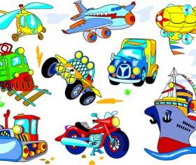 Different Cartoon Transportation tool vector 03