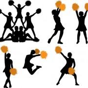 Link toSet of cheerleaders vector silhouettes 01