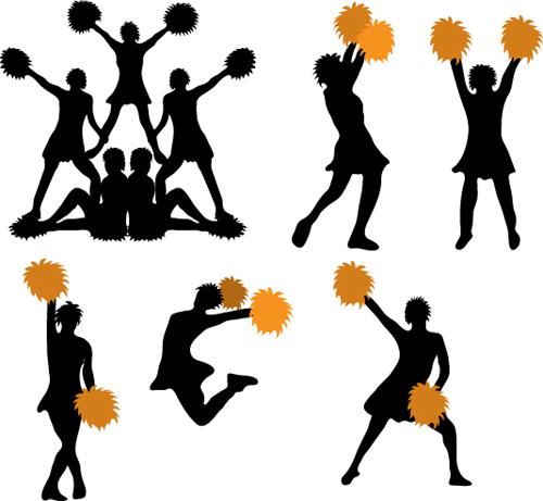 Set of Cheerleaders vector Silhouettes 01