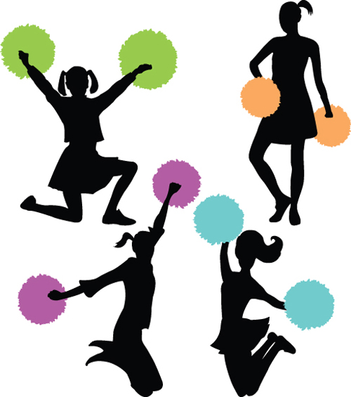 Set of Cheerleaders vector Silhouettes 02