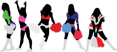 Set of Cheerleaders vector Silhouettes 03