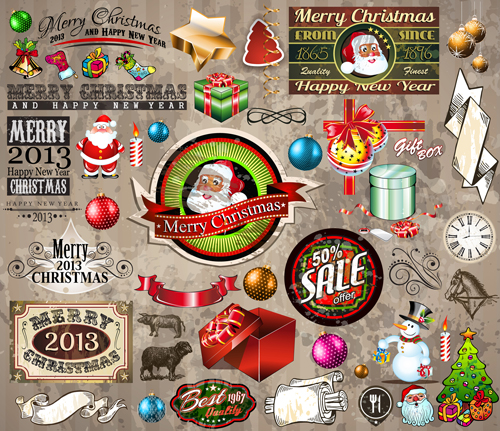 Christmas Ornaments collection vector graphics 01
