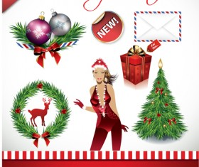 Christmas Ornaments collection vector graphics 04