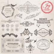 Link toChristmas calligraphic frame and decor vector material 01