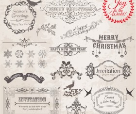 Christmas Calligraphic frame and decor vector material 01