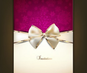 Christmas Invitation cards with Bow vector 01