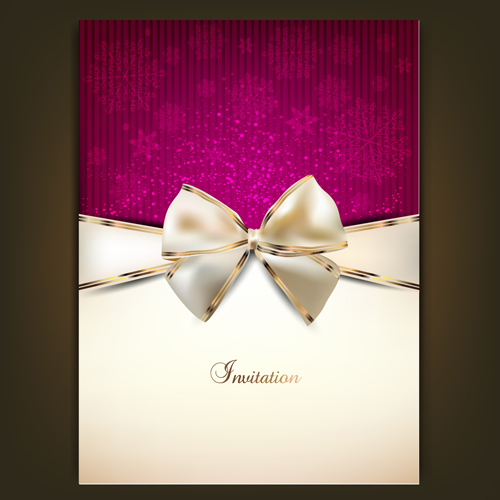 Christmas invitation cards with bow vector 01 free download christmas invitation cards with bow vector 01 stopboris Gallery