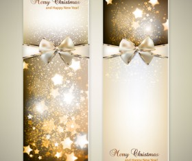 Christmas Invitation cards with Bow vector 02