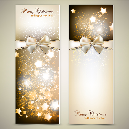 Christmas Invitation cards with Bow vector 02 free download