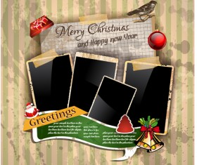 Christmas greetings cards vector template 01