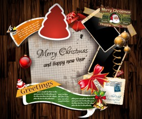 Christmas greetings cards vector template 02