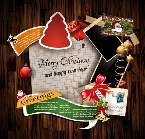Charming Christmas Greetings Cards Vector Template 02