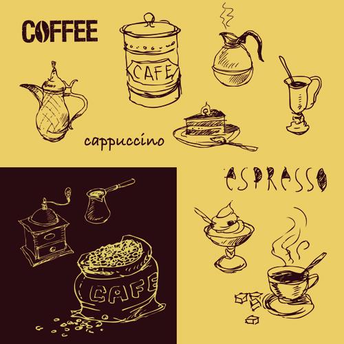 Retro Hand drawn Coffee elements vector 03