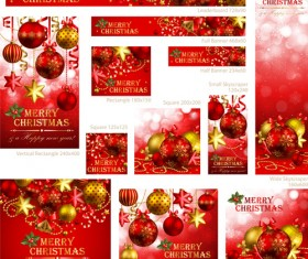 Colored xmas design decor vector material 02