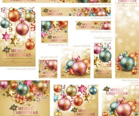 Colored xmas design decor vector material 03