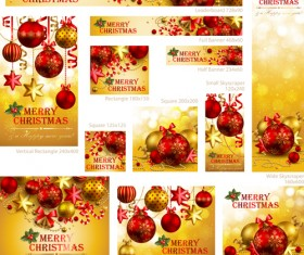 Colored xmas design decor vector material 04