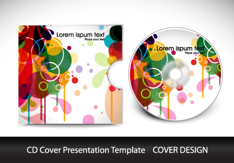 colorful cd cover presentation elements vector set 04 - vector, Presentation templates